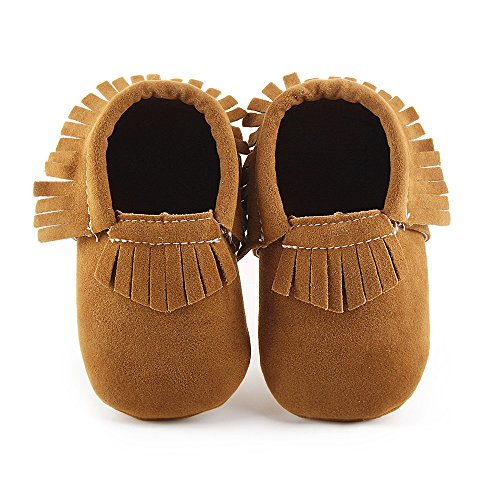 Delebao Unisex Baby Soft Sole Tassels Crib Shoes Moccasins Loafers (6-12 Months, Brown) ()