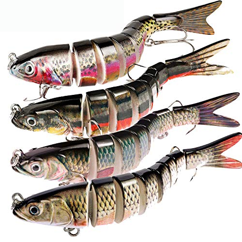MOCHUAN Fishing Lures for Bass (4 PCS), Fishing Bait Kits with Tackle Box - 8 Jointed, 3D Prismatic Eyes, Textured Lifelike Skin, Hard Bait Fishing Lure for Bass, Yellow Perch, Walleye, Pike, Trout