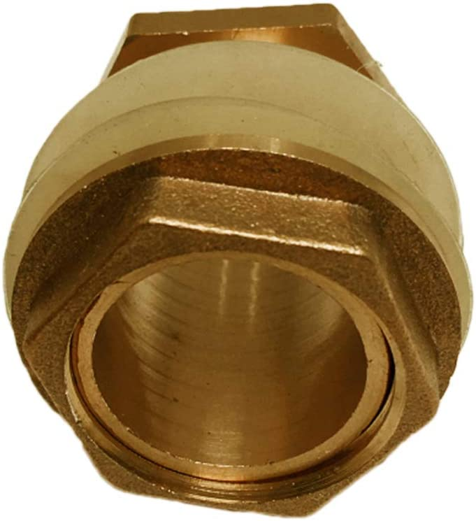 Brass Tank Fitting, Solid Brass Water Tank Connector, Garden Hose Adapter, Double Threaded Bulkhead, Tank Fitting with 2 Rubber Ring Stabilizing - 3/4inch