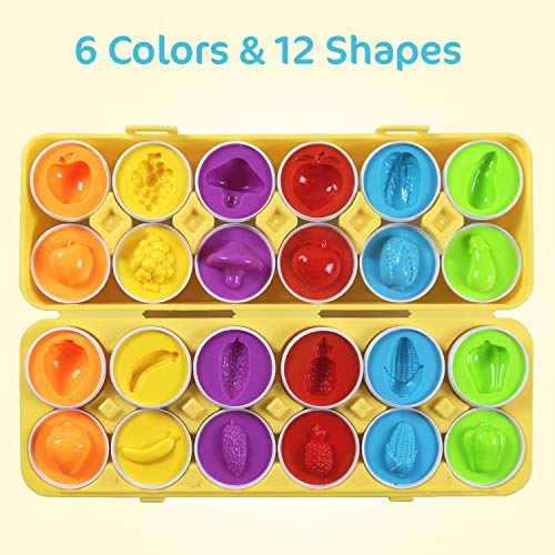 Comken Macthing Eggs Set of 12 - Color & Shape Recoginition Sorter Puzzle Educational Toy for Toddlers - Learning Vegetables Fruits Matching Educational Easter Gifts for 1 2 3 Years Old Toddlers Kids