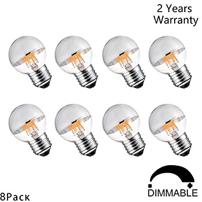 CanYa 6W Edison Style Vintage LED Filament Light Bulb with Mirror Half Chrome 2700K Warm White 600LM E26 Medium Base Lamp G45 Antique Shape 40 Watt Equivalent Dimmable 8 Pack for party celebration