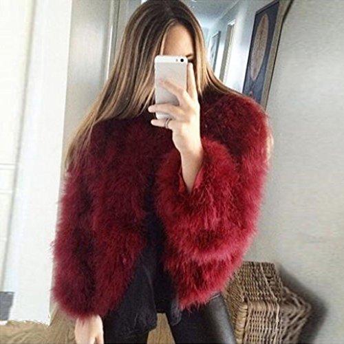 Avestruz Y Piel Chaqueta Suave De Esponjosa SintéTica Piel Vino Abrigo De De Mujer Invierno De Rojo Plumas QinMM De De atx6AnvwqC