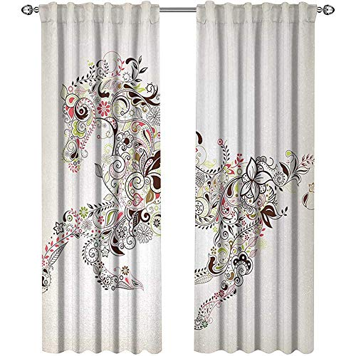 - Returiy Abstract, Curtains and Valances, Abstract Floral Horse Flower Leaf Ornamental Paisley Pattern Swirl Artwork, Curtains for Bathroom, W84 x L84 Inch, Green Brown Pink