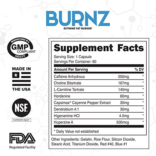 BURNZ ✮ Powerful Thermogenic Fat Burner ✮ Extreme Weight Loss Aid, Stronger Than Most Diet Pills ✮ True Plateau Destroyer ✮ Lose Weight Fast For Men And Women, Guaranteed Results ✮ 60ct