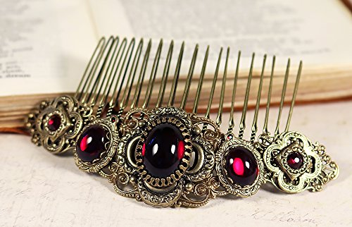 Antiqued Filigree Medieval Renaissance Style Bridal Comb with Featured Quatrefoil Centerpiece and Glass Stones - Canterbury