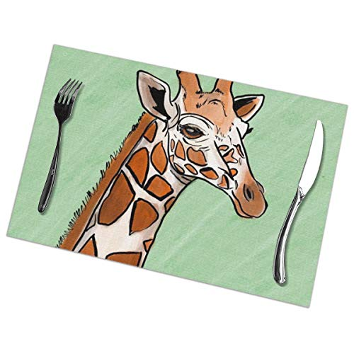 Giraffe African Wild Animal Wildlife Placemats Set Of 6 For Dining Table Washable Placemat Non-Slip Heat Resistant Kitchen Table Mats Easy To Clean