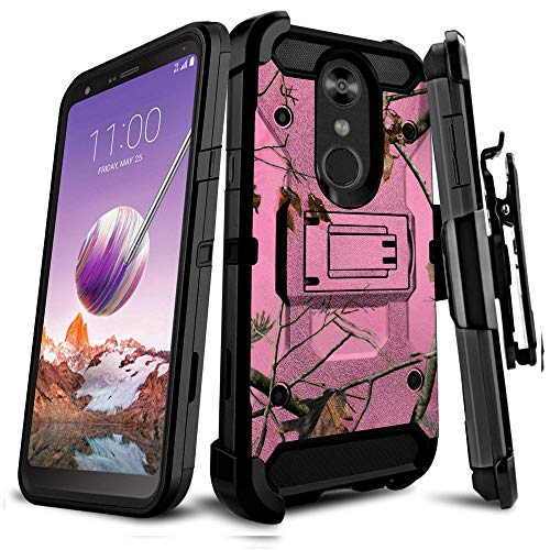 Untouchble Case Compatible with LG Stylo 4 / LG Q Stylus/LG Stylo 4 Plus, Holster Case - Triple Protection Holster Belt Clip Holder Cover with Kickstand TANK SERIES - Pink Tree Camo