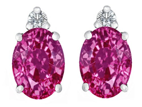 Oval Pink Sapphire Earrings - 4
