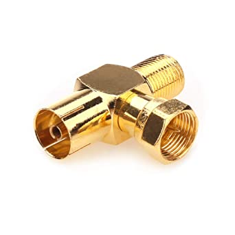 Conectores de antena coaxial NANYI Hembra a macho TV Cable de televisión coaxial antena Acoplador, conector en ángulo recto enchapado en oro tipo T / ...