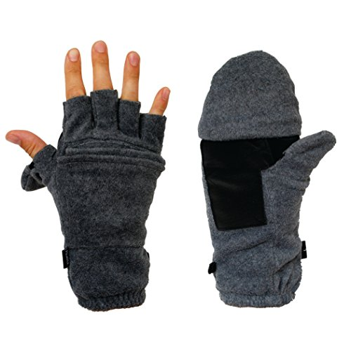 Hot Headz Polarex Glomitts Gloves, Grey, (Glo Fleece Gloves)