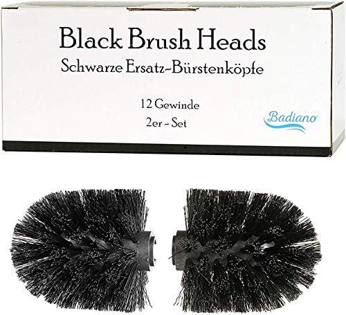 Badiano zwarte vervangende borstelkoppen wcborstelset van 212 mm schroefdraad borstelkoppen voor onze wcgarniturenreserveborstels