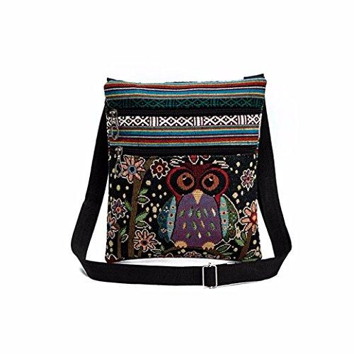 Sagton Owl Embroidered Shoulder Bag Women Postman Package Cross-Body Bags  (D) e07f3a77def0c