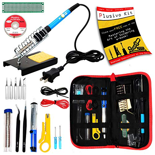 Soldering Kit - Soldering Iron 60 W Adjustable Temperature, Soldering Iron Stand, Soldering Iron Tip Set, Desoldering Pump, Solder Wick, Tweezers - Soldering Iron Kit for Electronics [110 V, US Plug]