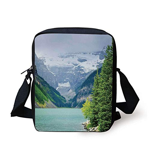 (Lake House Decor,Landscape of Lake Louise and Mountains with Snows Alpine Trees in Alberta Canada,Green White Print Kids Crossbody Messenger Bag Purse)