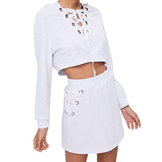 cfe6e70b08 Womens Lace Up Hoodie Sweatshirt Pullover Tops Blouse+Skirt Set at Amazon Women s  Clothing store