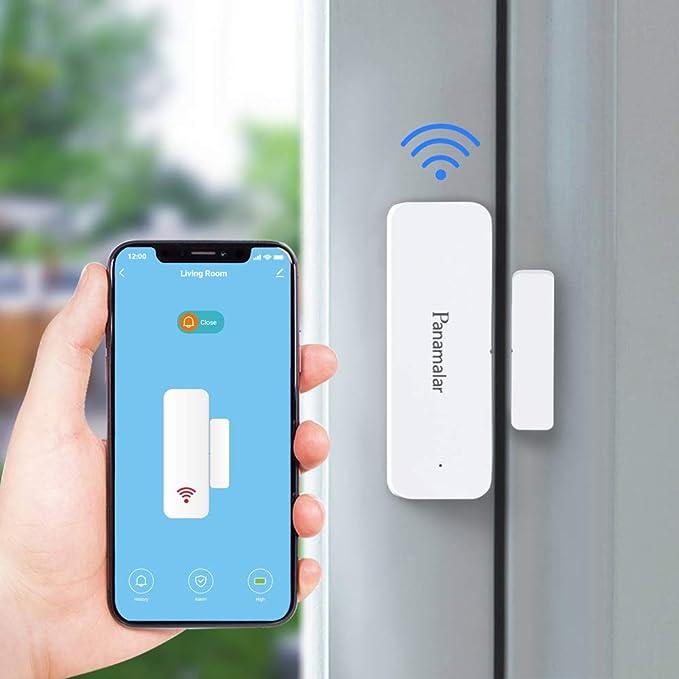 Panamalar Door Window Sensor Wifi Door Alarm System, Detects Opened and Closed Front Back Garage Door, Sends Alerts, Compatible with Alexa Google Home, Smart Auto Switch on Lights Accessory