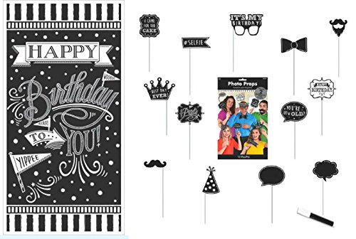Birthday Photo Booth Props & Background - Chalkboard Lettering - Includes 2 Custom Props and White Chalk Marker to Create Your - Create Own Your Booth Photo