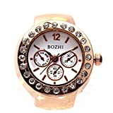 EERLLZ Creative Couple Clock Diamond Dial Watches Lover's Finger Ring Watch Women Men Fashion Elastic Stainless Steel Quartz Watch As Show