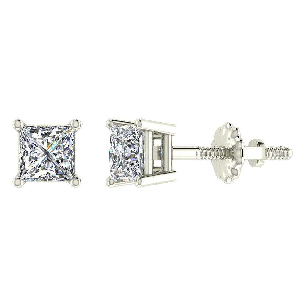 1/2 ct tw I I1 Natural Princess Cut Diamond Stud Earrings 14K White Gold Screw Back