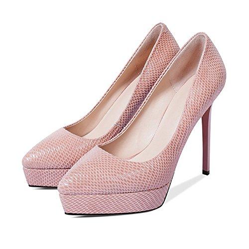 Estate Tacco Colore JIANXIN Pelle Punta in Impermeabile Primavera Rosa Basso Scarpe 36 Dimensioni E Piatta E Spesse Scarpe con 1vf1g0Zq