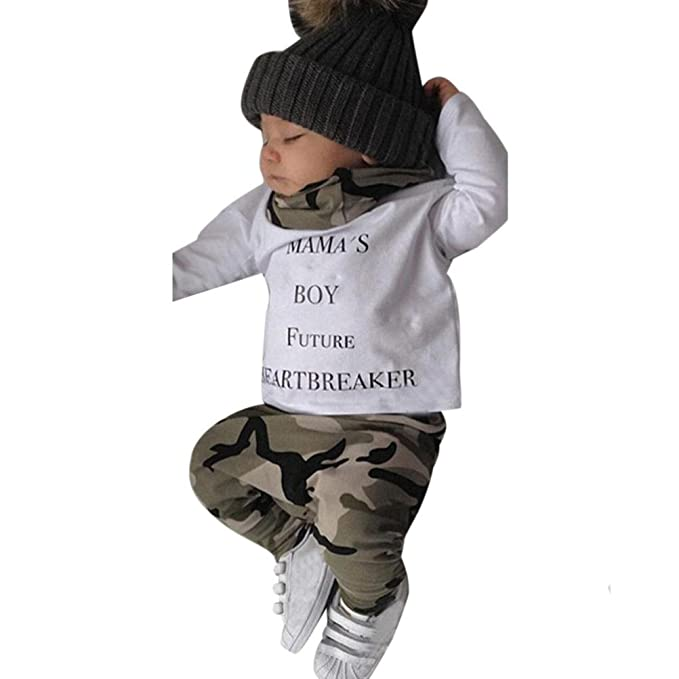 Camouflage Pants Outfits Set w0 Newborn Baby Boy Pullover Hoodie Shirt Tops