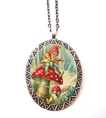 Elf Gnome Necklace Pendant Silver Tone Garden Gnomes Lawn Elf Mushroom (Mushroom Elf)