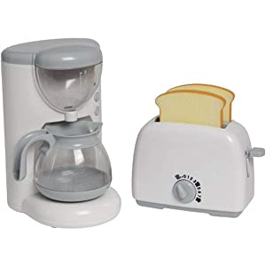 Constructive Playthings Appliances Toaster and Coffee Machine Set for Toy Kitchens, Pretend Play Action-Fun Kitchen Mixing Appliances for Ages 3+