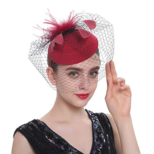 Zivyes Fascinator Hats for Women Pillbox Hat with Veil Headband and a Forked Clip Tea Party Headwear (F-Burgundy) ()
