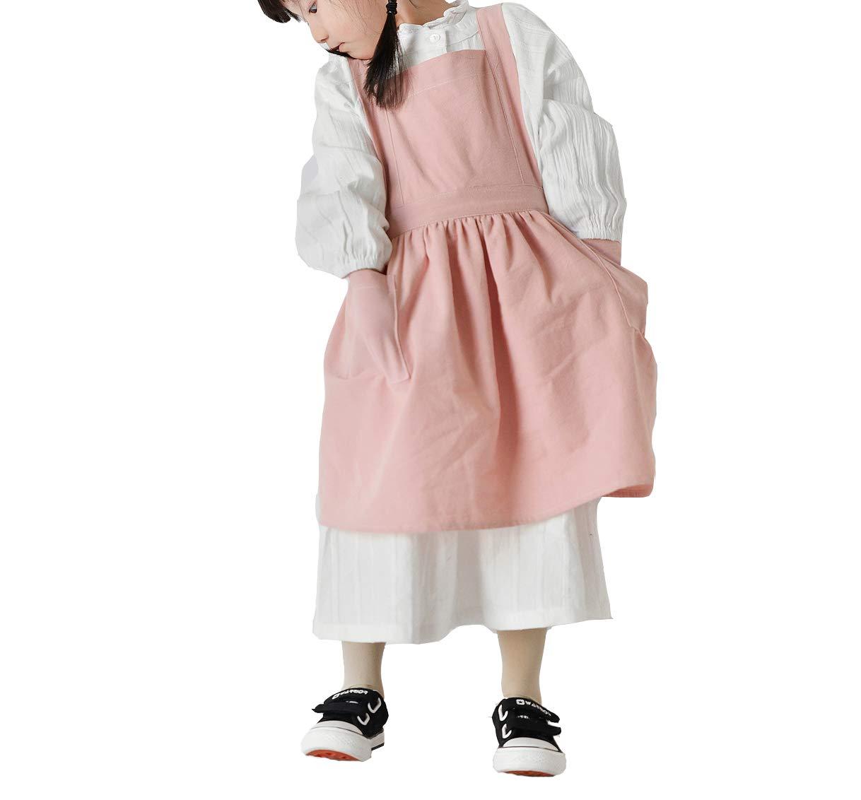 xiaoshenlu Delantal Cocina para Niños con Bolsillos - Cocina, Artesanía, Pintura y Actividades Familiares - Lavado de Delantales de Algodón y Lino, ...