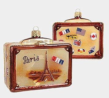 París Francia Vintage Viaje Maleta Adorno de Navidad de cristal una nueva decoración