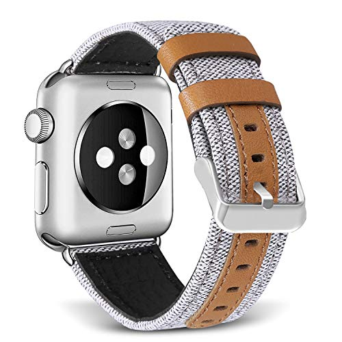 - SKYLET Bands Compatible with Apple Watch, 38mm/42mm Canvas Fabric Genuine Leather Straps with Metal Clasp Compatible with Apple Watch Series 4 40mm/44mm Series 2 Series 1 Series 3 Edition (No Tracker)