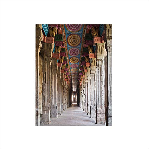 Decorative Privacy Window Film/Spiritual Theme Inside of Old Meenakshi Temple in South Asia Digital Image Print Decorative/No-Glue Self Static Cling for Home Bedroom Bathroom Kitchen Office Decor Ligh