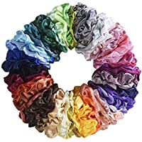62-Piece Mcupper Hair Silk Scrunchies Satin Elastic Hair Bands