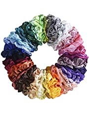 Mcupper 62 Pcs Hair Silk Scrunchies Satin Elastic Hair Bands Scrunchy Hair Ties Ropes Scrunchie for Women Girls Hair Accessories - 62 Assorted Colors Scrunchies