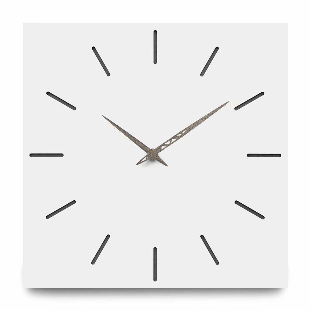 FlorLife New Contemporary Wall Clock, Simply Modern Nordic Style Living Room Home Wall Decor Square Solid Wood Silent Wooden Home Clock