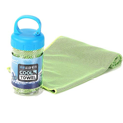 AINAAN Microfiber Quick Cooling Towel ,Yoga Sport Running Gym Camping Fitness with Handle Bottle, 2019, Green