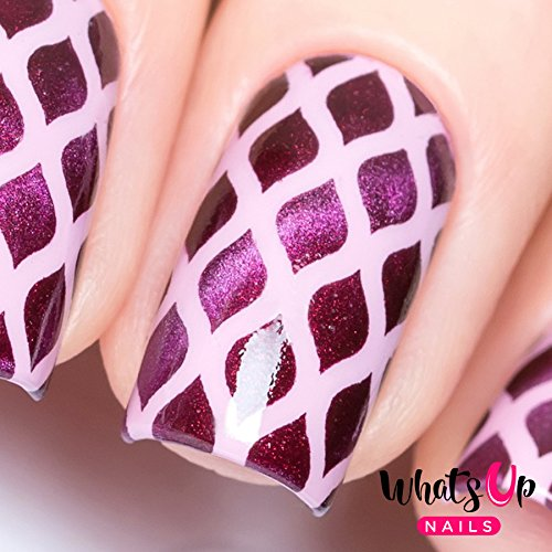Whats Up Nails - Fishnet Nail Stencils Stickers Vinyls for Nail Art Design (1 Sheet, 12 (Outline Fishnet)