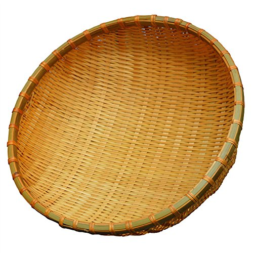 SMKF Small Kichen Baskets for Bread, Fruits and Veggies Pure Natural Bamboo Basket (12-inch) (Tray Round Large Wicker)