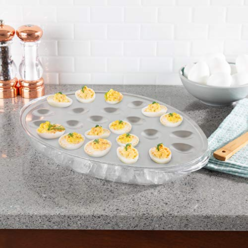 Classic Cuisine Cold Deviled Egg Tray-Chilled Platter with Ice Compartment-Egg, Fruit, Veggie Holder Serving Dish for Parties, Barbecues, or Events -