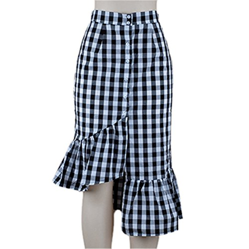 JIANGTAOLANG Women Midi Red White Plaid Empire Long Skirts Ruffled High Waist Cotton Club Skirt Black Plaid S
