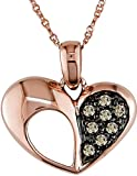 14k Rose Gold Brown Diamond Pendant (0.08 Cttw, Brown Color, I2-I3 Clarity), 17""