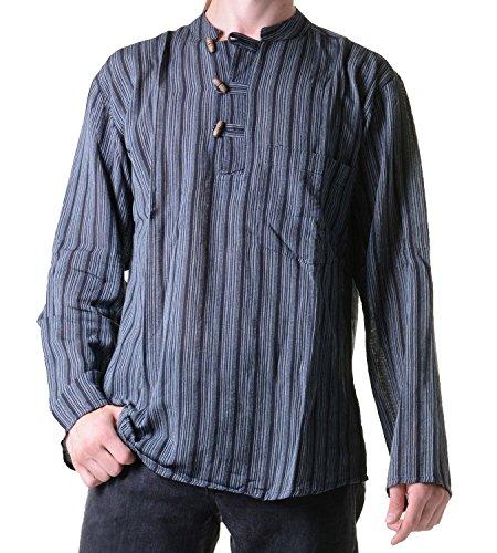Fischerhemd Kurtha Gestreift Überzieher Hemd Poncho Mittelalter Nepal, Größe/Size:L, Black / Schwarz