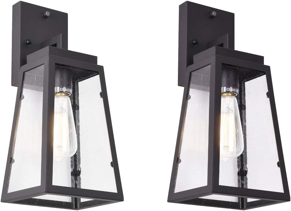 mirrea Outdoor Wall Lantern 1 Light with Dusk to Dawn Photocell Sensor and Tempered Seeded Clear Glass Shade Matte Black Finish 2 Pack