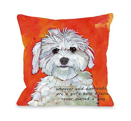 "One Bella Casa ""Girl's Best Friend Pillow, 18 by 18-Inch from One Bella Casa"