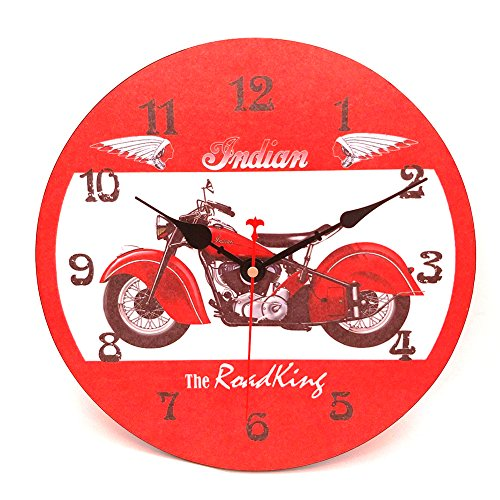 Price comparison product image Wood Wall Clock,  Vievogue Vintage Rustic Colorful Retro Style Design Non -Ticking Silent Quiet Wooden Clock Gift Home Large Decorative for House Living Room Kitchen Art Decor (Motorcycle,  12 inch)