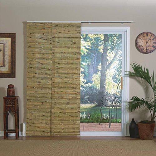 Bamboo Panel Blinds - Sliding Patio Door Indonesian Pecan Bamboo Window Panel Track Shade, 78