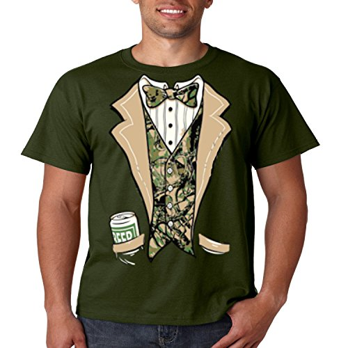 Camo Tuxedo T Shirt Beer In My Pocket Mens Tee S-5XL (Military Green, (Redneck Outfit)