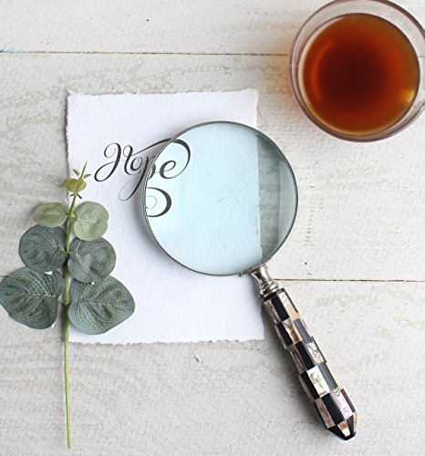 Glass Handcraft (Handcraft Magnifying Glasses for Reading with MOP(Mother Of Pearl) Handle Office Desk Accessory Magnifier)