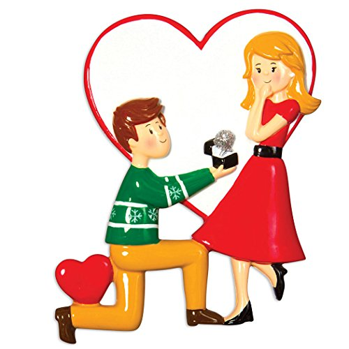 (Personalized Engagement People Christmas Tree Ornament 2019 - Man Propose Woman Red Dress Diamond Engaged Ring Heart Romantic Got The She Said YES Brunette Blonde Gift Year - Free Customization)
