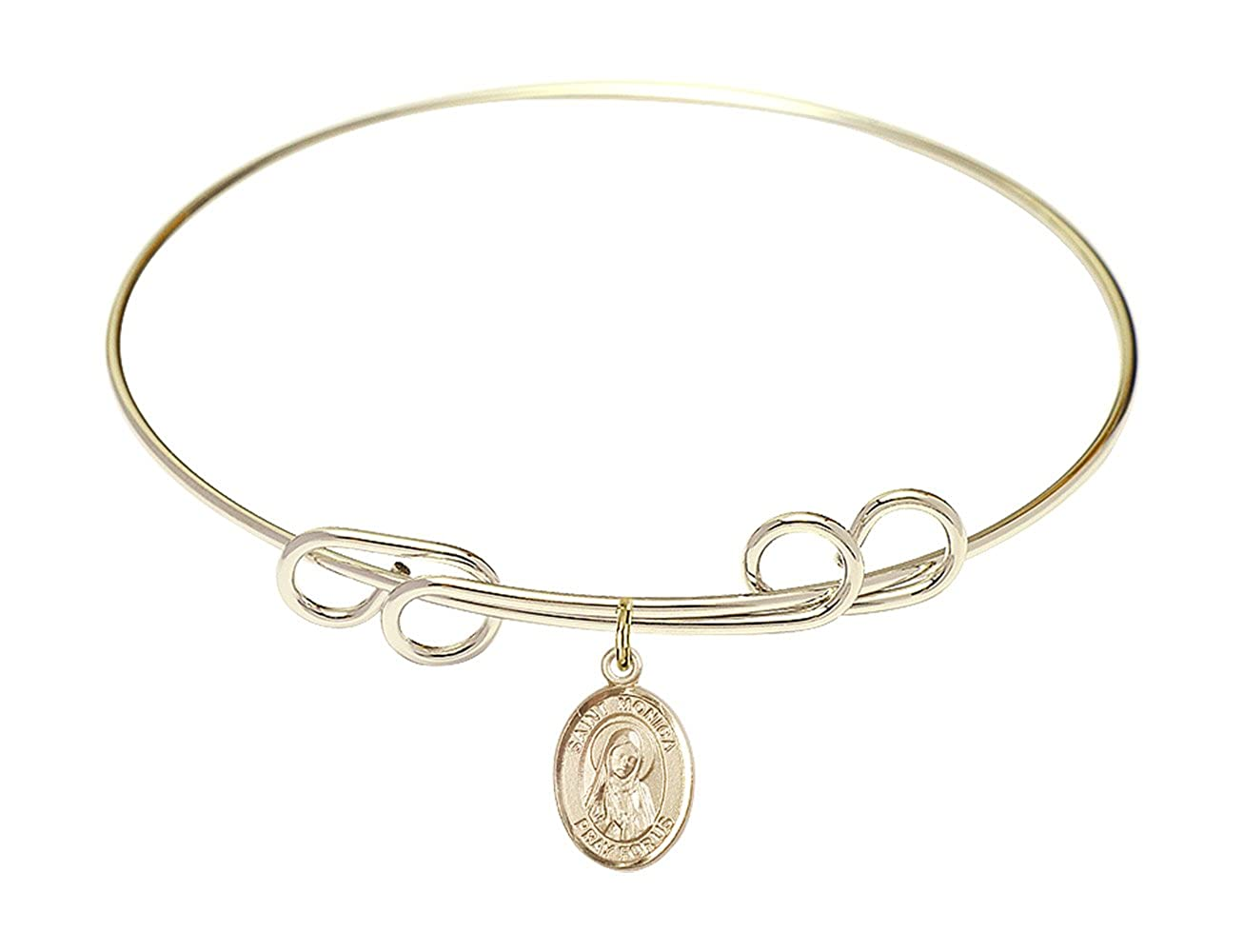 St Monica Charm On A 8 Inch Round Double Loop Bangle Bracelet